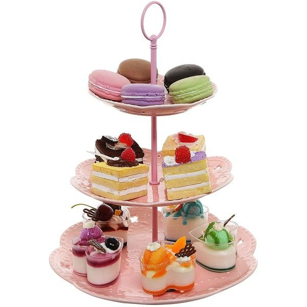 Amazon.com | Pastel Pink Ceramic 3 Tier Dessert Stand Server / Cupcake... ($18) ❤ liked on Polyvore featuring home, kitchen & dining, serveware, three tier server, 3 tier server, three tier serving tray, 3 tier dessert stand and appetizer serveware