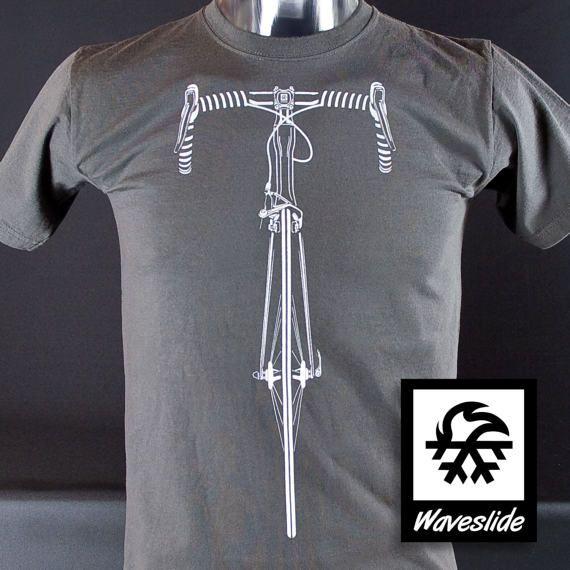 Camiseta carrera BTT MTB bicicleta bicicleta ilustración Waveslide en gris oscuro. Clásico Impresión con Plastisolfarbe de la pantalla. 100% algodón, tamaño S-XXL (normalmente caen), sin uso. Anchura de envío: €2,60.
