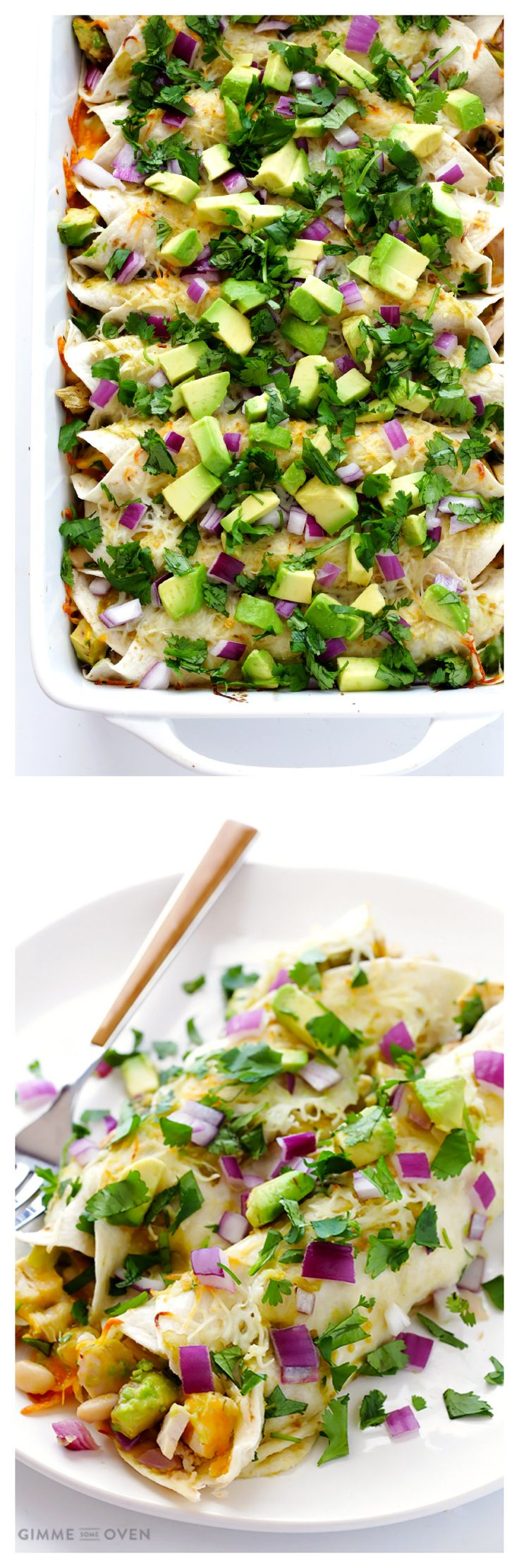 Turkey Enchiladas -- simple to make, and perfect for #Thanksgiving leftovers!   gimmesomeoven.com