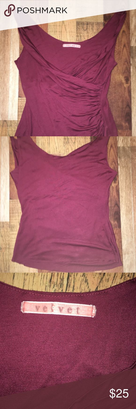 Anthropologie Velvet by Graham & Spencer. Sz Sm Velvet by Graham & Spencer. Mulberry color top, Amazing flattering cut and draping size small, perfect condition- no snags/tears/rips/stains or other weirdness - ready to ship😎 Velvet by Graham & Spencer Tops