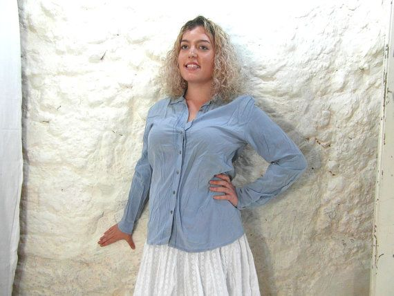 Blue silk blouse shirt size M French vintage by frenchvintagedream