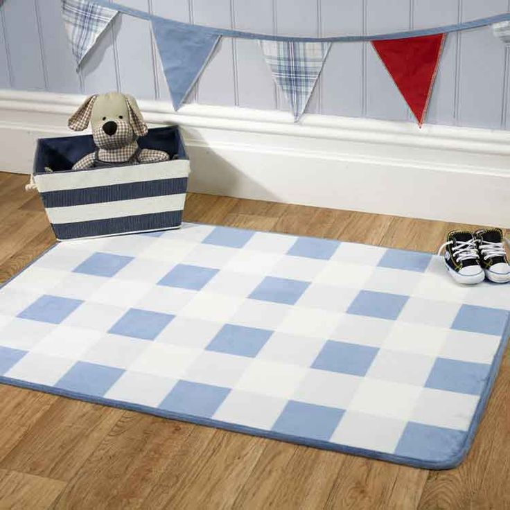 Creating A Nautical Theme In Your Nursery Anchors Away Gingham Rug Blue