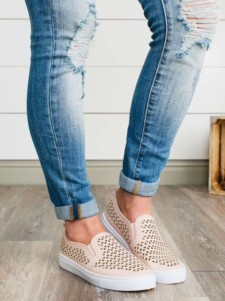 These adorable sneakers are the perfect blend of girly and casual. Featuring a blush laser-cut upper, slip-on construction and comfortable man-made sole. These tennis shoes are perfect for traveling o