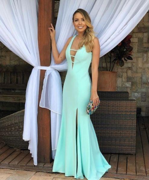 383e57a9e vestido verde tiffany Vestido Azul Tiffany Longo, Vestido De Madrinha Azul  Tiffany, Vestido Longo