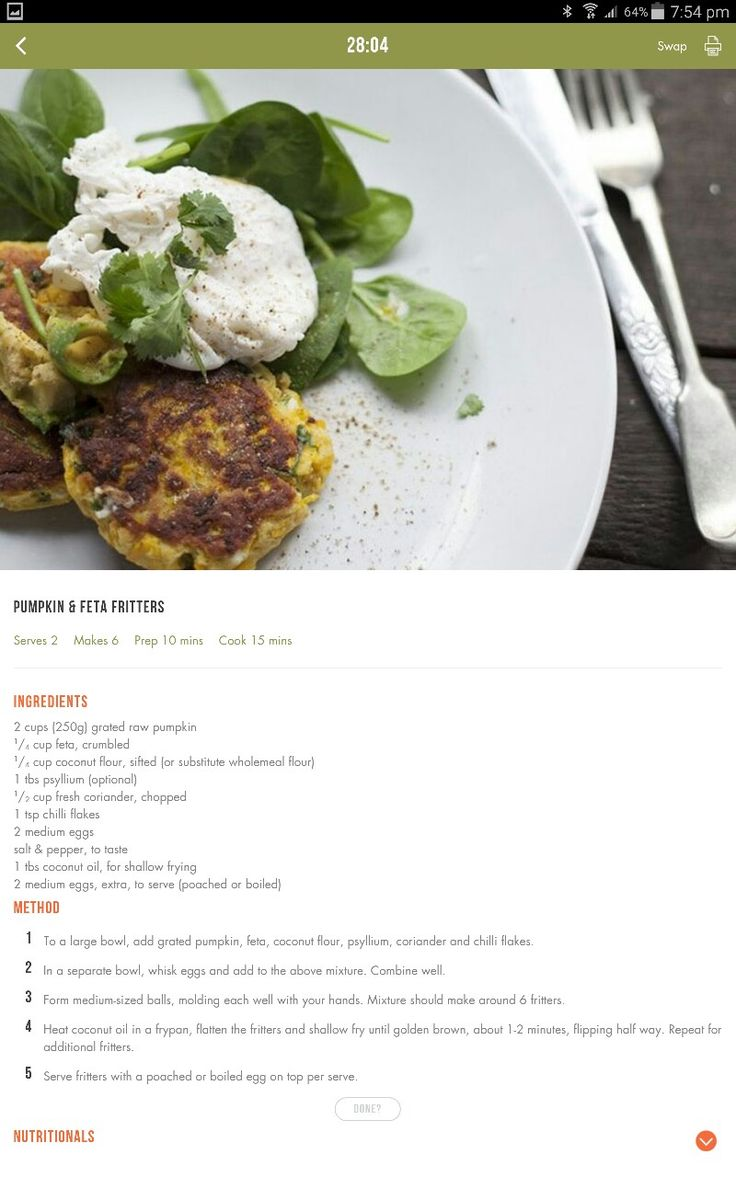 Pumpkin & feta patties