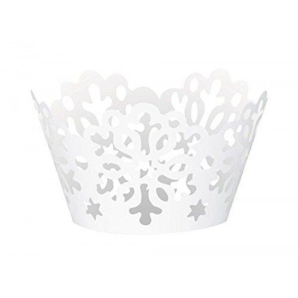 Die Cut Snowflake Holiday Cupcake Wrappers, 12ct  Turn ordinary cupcakes into gourmet showstoppers with these Die Cut Snowflake Holiday #Cupcake #Wrappers. With a white snowflake design, these Christmas cupcake wraps are great for putting the finishing touches on delicious desserts for a winter themed birthday party...
