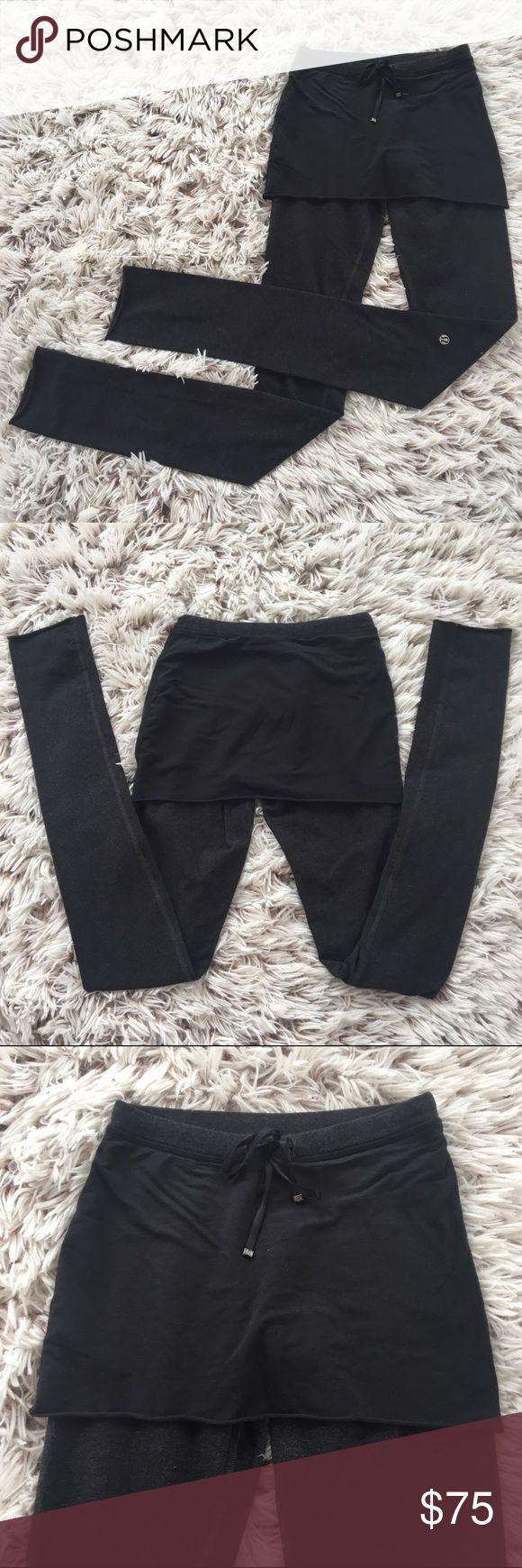 LULULEMON BLACK GRAY LEGGING SKIRT 2 Gorgeous Lululemon leggings with cover up skirt. Drawstring waist with a 31.5 inch inseam. Size 2. lululemon athletica Pants Leggings