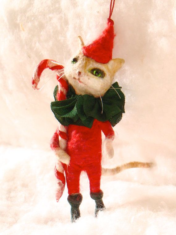 Spun cotton Cat in a red Christmas suit feather tree by jejemae