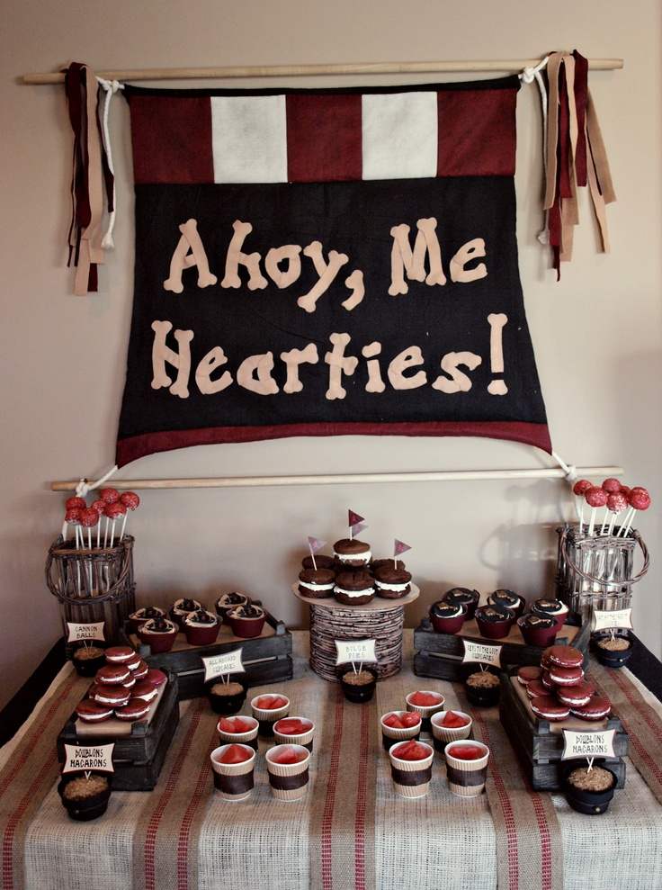 pirate party - love the burlap ribbon on the table.: Pirates Birthday Parties, Theme Parties, Pirates Parties, Birthday Parties Ideas, Boys Pirates, Parties Tables, Parties Desserts, Pirates Theme, Birthday Ideas
