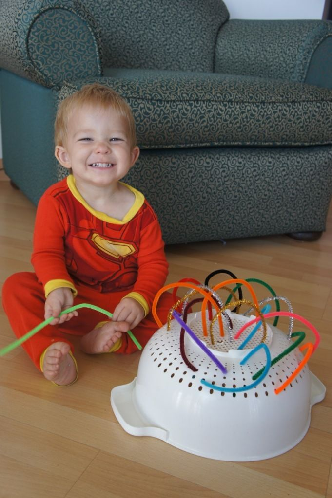 fun, simple activities for Littles -- sort, stack, and play with plastic lids; poke pipe cleaners into anything w/ holes; ice cube trays for sorting anything small, etc!