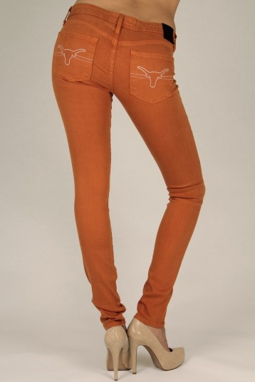 TEXAS Longhorn Skinny in Burnt Orange - Premium Collegiate Denim from OCJ Apparel. Find out more at http://www.ocjapparel.com/products-page/texas-longhorns/texas-longhorn-skinny-in-burnt-orange/