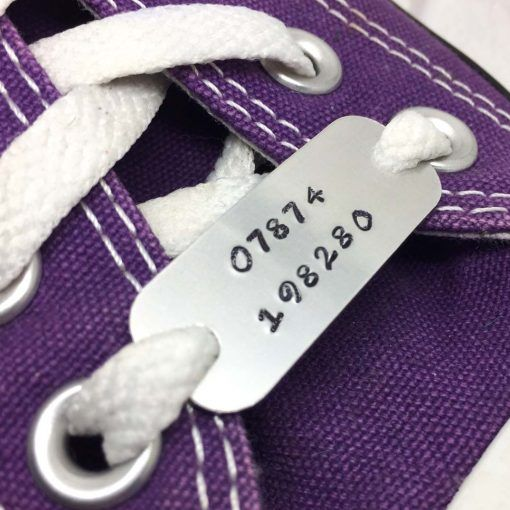 Keep yourself motivated while on the move. These two personalised trainer tags can be stamped with a phone number for safety, medical information, names for school shoes, an inspirational message, the charity you are walking/running for, a team or event name, or anything you like.