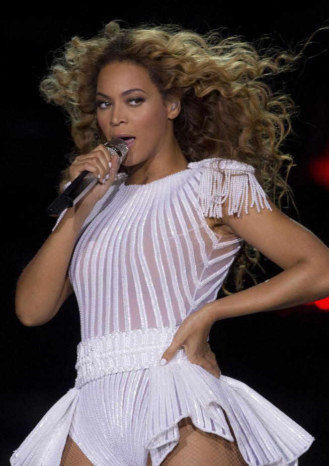 Beyoncé performs during her Mrs Carter Show World Tour, at the LG Arena in Birmingham 27.04.2013