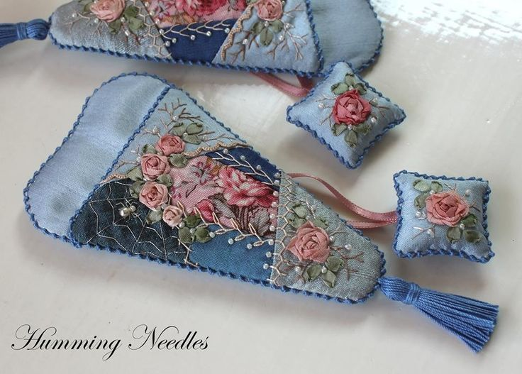 Ribbon embroidery, crazy quilt, Humming needles, scissors case