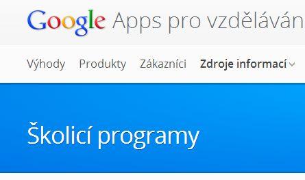 Zdroje: školicí programy – Google Apps pro vzdělávání