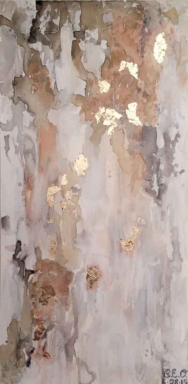 "New Beginnings, 24""x48""  Shop now! This piece is acrylic and gold leaf. This warm and light piece adds balance and calm to your life. When the light shines on the gold leaf it will bring a little bit of sparkle into your home or workplace. #abstractart  #interiordesign"