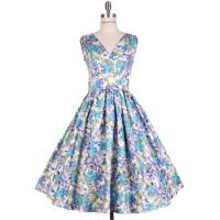 1950's Blue Floral Swing Dress