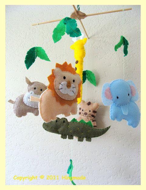 ZOO BBY  Baby Nursery Mobile - Baby Crib Mobile - Baby Mobile - Handmade Baby Mobile - Hanging Mobile - African safari theme (U pick  colors). $72.00, via Etsy.