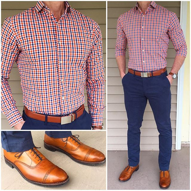First Day of Spring ⚪️ I thought the first day of Spring needed a pop  of color❗️ A double gingham shirt like this one is an easy way to add some color, like the orange here, but still keep it grounded with the blue and white in the shirt.  Do you like this outfit❓  Chinos: @jachsny  Shoes: @allenedmonds  Shirt: @quinntengeorge