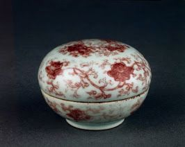 White rim peach bloom chinese red chinese pottery forward chinese red