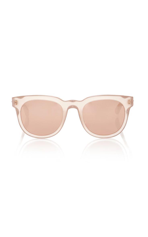 Rose-Gold Round-Frame Acetate Sunglasses by LINDA FARROW Now Available on Moda Operandi