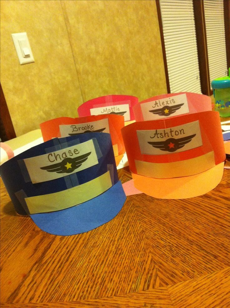 Pilot hats for airplane party