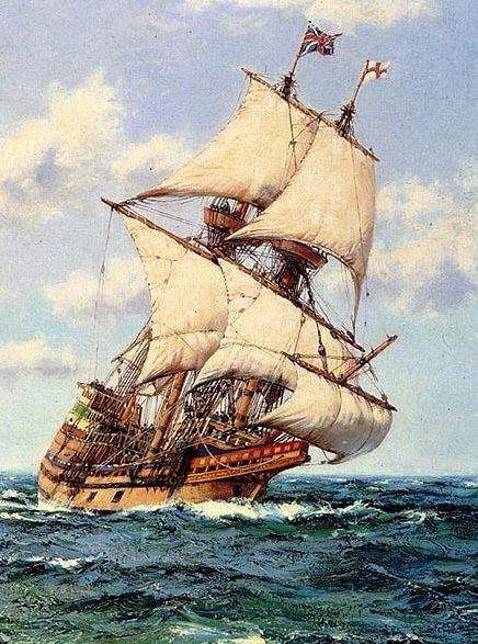 "Aug. 5, 1620. The Pilgrims leave England on the ""Mayflower."""