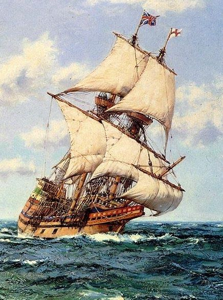 "Aug. 5, 1620. The Pilgrims leave England on the ""Mayflower."""