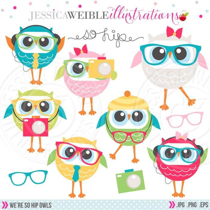 We're So Hip Owls Digital Clipart - JW Illustrations # ...