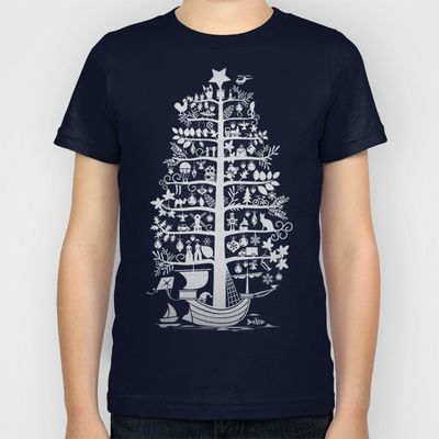 CHRISTMAS TREE white ITINERANT Kids T-Shirt by Chicca Besso - $20.00