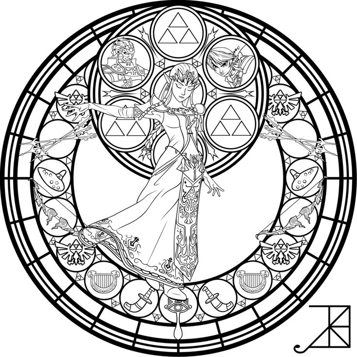 stained glass zelda coloring page by akili amethystdeviantartcom