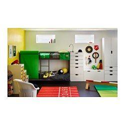 IKEA - TUFFING, Etagenbettgestell, , Spart Platz, auch auf kleinem Raum.Dank der Leiter in der Mitte ist der Ein- und Ausstieg einfacher.Das Bett ist niedriger als Standardbetten, damit Eltern das Kind sehen können.Die geringe Höhe erleichtert das Bettenmachen.Die Leiter fungiert als Stützbrett, wenn sie in der Bettmitte angebracht wird.