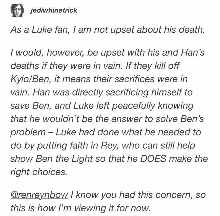 SPOILERS: I totally agree! If they kill Ben it would be another Darth Vader plus C'MON! Leia does not deserve This Okay? She deserves to have her son back because she already lost too much!