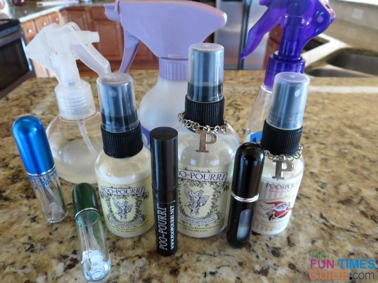 My current collection of storebought and homemade Poo Pourri sprays. photo by Lynnette at TheFunTImesGuide.com