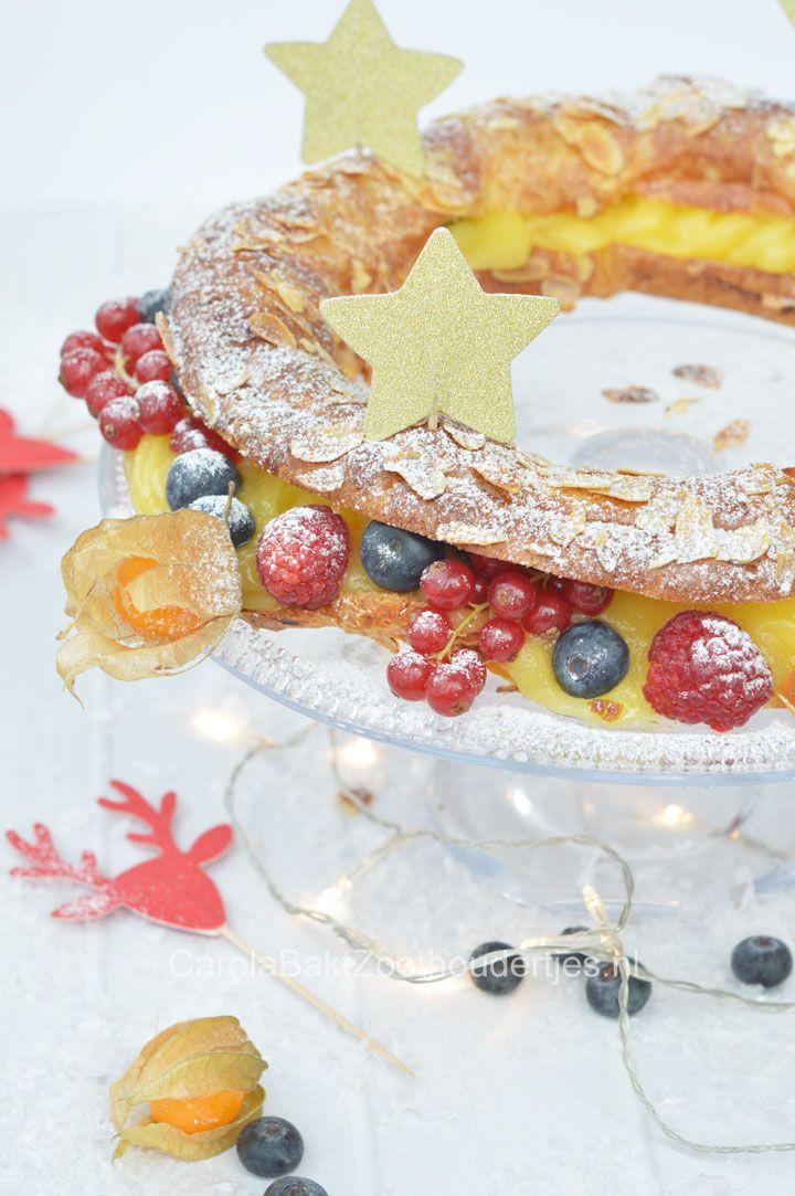 Kerstkrans van soezendeeg oftewel: Paris Brest, Wat een heerlijk recept en supersnel op tafel! rRng of choux pastry, the Paris Brest!