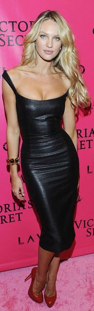 Candice Swanepoel leather dress