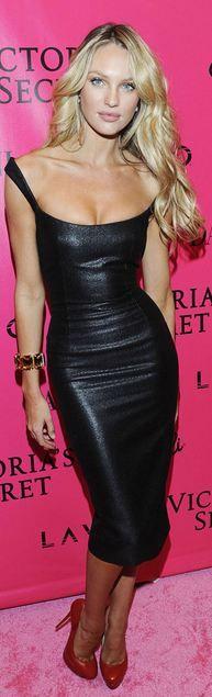 Candice Swanepoel leather dress