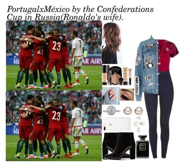 """""""PortugalxMéxico by the Confederations Cup in Russia(Ronaldo's wife)."""" by tatabranquinha ❤ liked on Polyvore featuring Chanel, Smashbox, Natalie B, Frame, Mark Broumand, Charlotte Russe, Trilogy, celebrity and cristianoronaldo"""