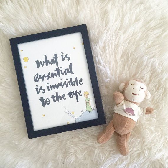 What is essential is invisible to the eye - the little prince, le petit prince, Home decor, Handwritten, Nursery Art, Illustrations