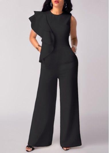 Black Ruffle Sleeveless Wide Leg Jumpsuit