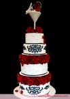 #Damask #wedding #cake #Black #WHite #red