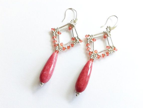 jade drops earrings semi precious stone earrings rose by tizianat