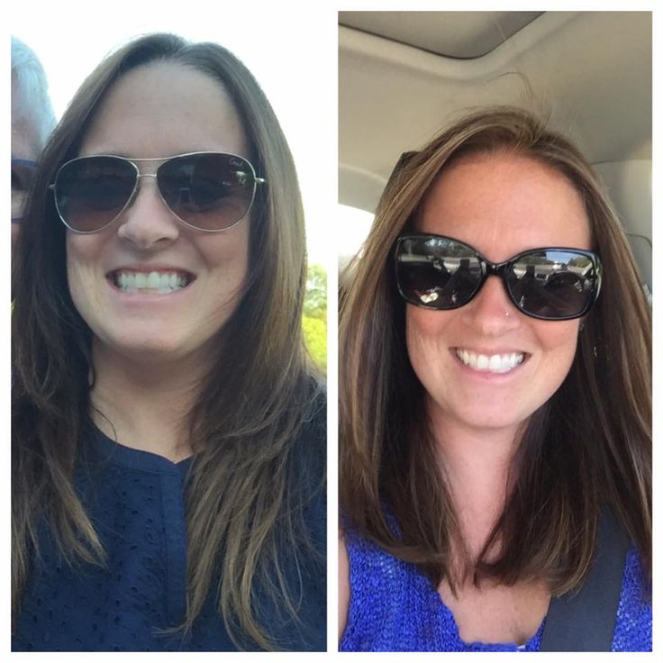 Before and after Blended balyage highlights.