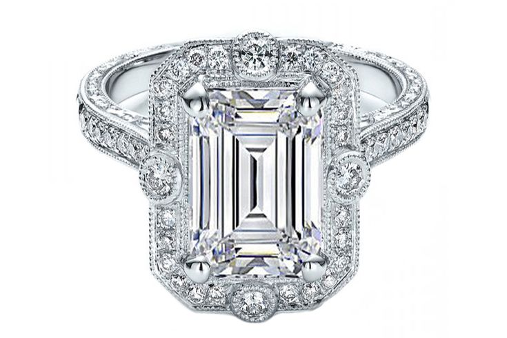 Engagement Ring - Emerald Cut Diamond Halo Vintage Engraved Engagement ring in 14K White Gold - ES1149ECWG