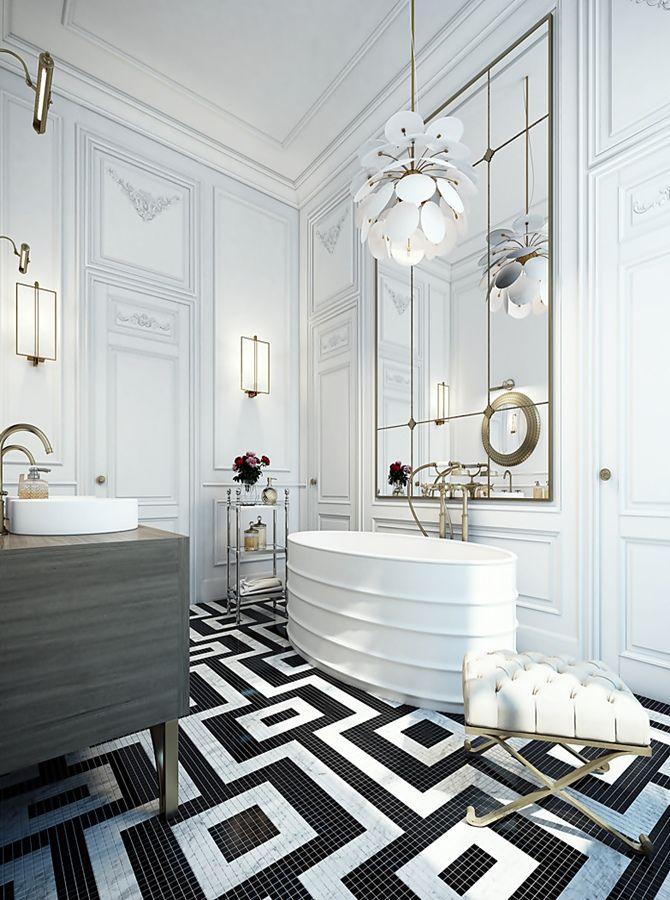 Apartment in Saint Germain Paris black and white floor! Bathroom