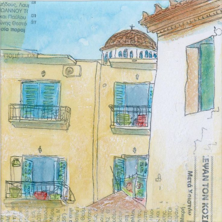 Village View - by Gill Tomlinson. Inspired by Koroni in the southern Peloponnese. Mixed media original now sold - quality giclee prints and canvas reproductions are available.