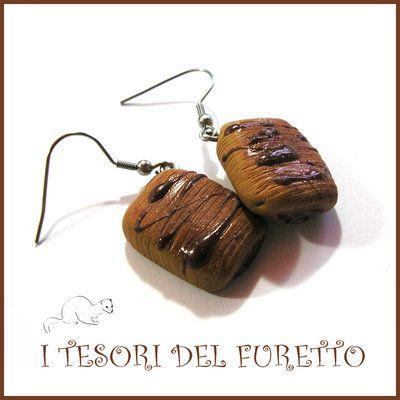 """Orecchini Serie """" Patisserie """" Saccottino  al cioccolato pasticcini dolcetti…"""