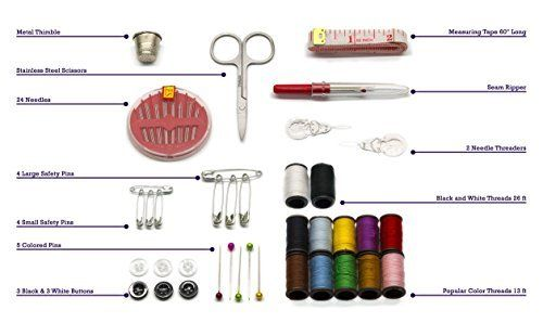 Compact Sewing Kit for Home, Travel, Camping & Emergency + eBook, $11.95 100 Extra Pins & Safety Pins. Premium Sew Supplies Expansive Case Set. Best Gift for Beginners, Kids, Girls, Boys, Adults | ShopExpress Simply Survival