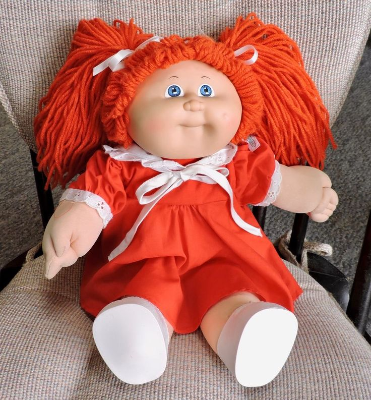 "CABBAGE PATCH KID 16"" Girl Doll, Red Hair, Blue Eyes & Xavier Roberts Signature"