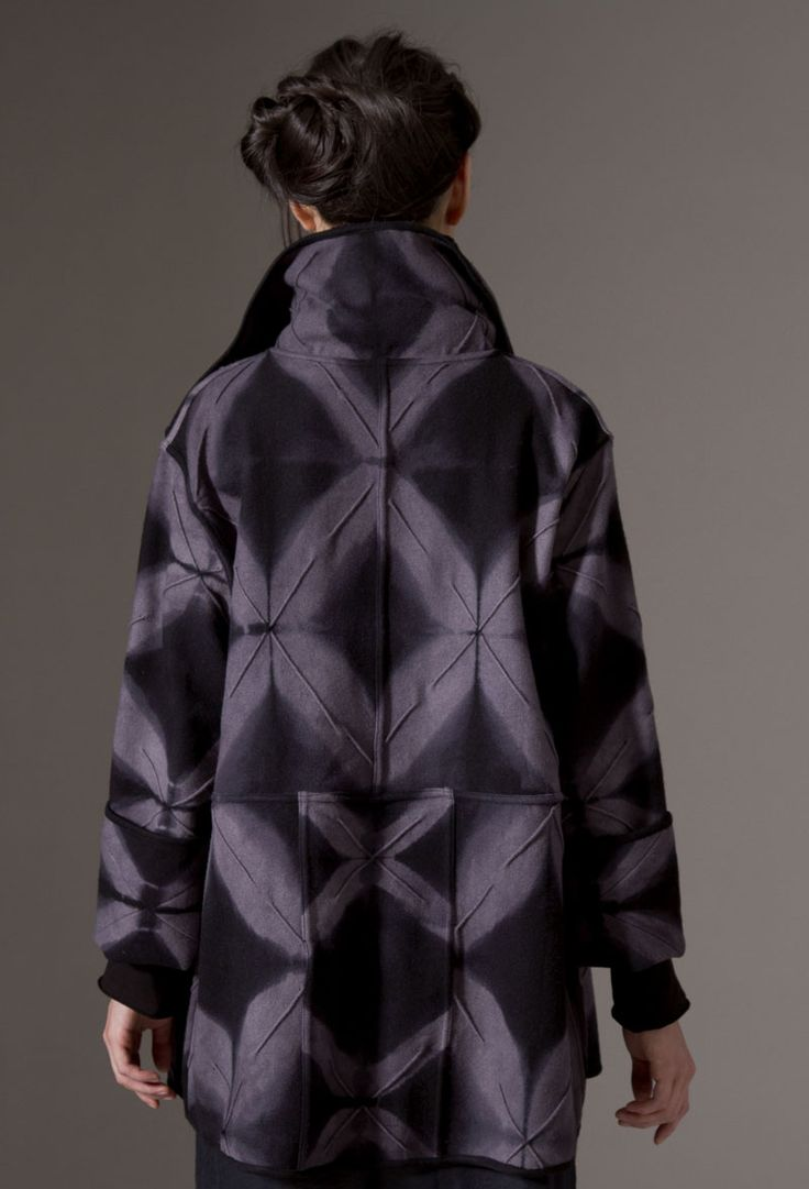 Amy Nguyen Textiles - Iki - Artist Coat Hand-dyed itajime shibori, locally sourced wool, textured, stitched, pieced, worn with Japanese Wool Scarf